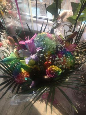 Mothers Day Rainbow Bouquet in Glass Vase